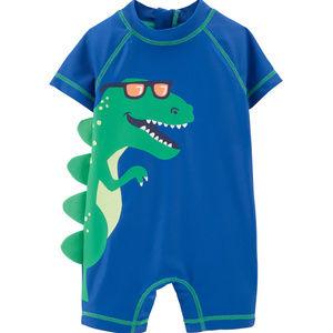 Baby Boy Dinosaur One Piece Rashguard Swimsuit